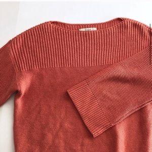Loft Orange Kimono Sleeve Boat Neck Sweater